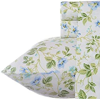 Laura Ashley Spring Bloom Pillowcase Sheet Set, Queen, Periwinkle