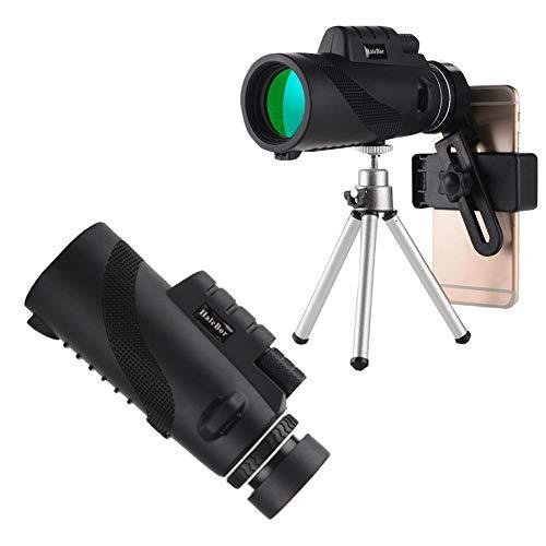 Ridecle Monokular-Teleskop für Smartphones, wasserdichtes Nachtsichtgerät mit hoher Vergrößerung (50 x 60), tragbares HD-Monokular für den Außenbereich mit BAK4-Prisma, Telefonhalter und Stativ