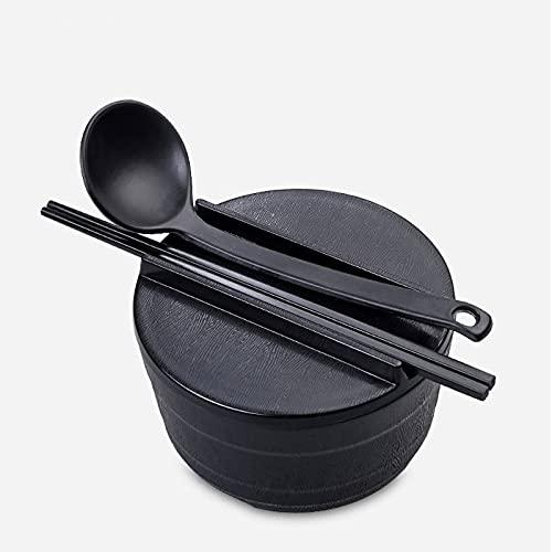 DSDBD W Bowl, tazón de Ramen de cerámica con cuchara de sopa y palillos, fideos, Ramen, Udon, Miso, Capacidad de sopa divertida, 18,8 x 10