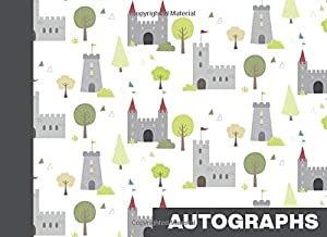 Autographs: Blank Unlined Book for Collecting Signatures and Messages | Knights and Castles Pattern Cover Design in Grey