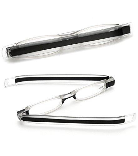 VEVESMUNDO Lesebrille Herren Damen Faltbar Klappbar Mini Portable 360°Rotierende Stiftart Lesebrillen Vollrandbrille Lesehilfe 1.0 1.5 2.0 2.5 3.0 3.5 4.0 (Schwarz, 1.0)
