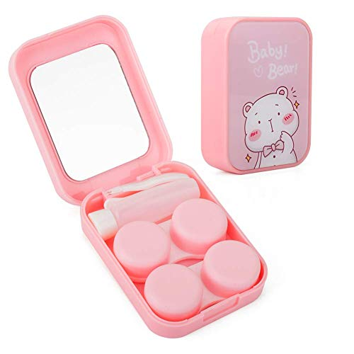 Two Packs Contact Lens Care Vision Care Nobleness Cute Contact Lens Cases Contact Lens Set Contact Lens kit Set Colored Contact Lenses for Women (Pink-1)
