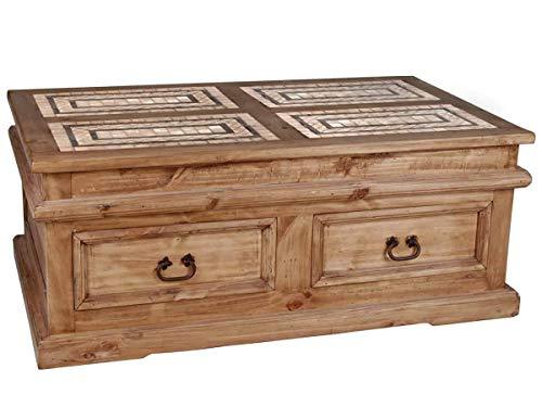 MiaMöbel Couchtisch Mexico Möbel 125x50x75 cm Landhausstil Massivholz Pinie Honig