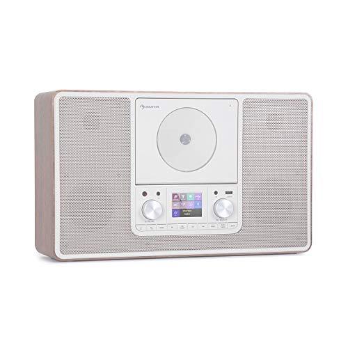 auna Scala VCD-IR - Radio Digital con Internet, Sintonizador Dab/Dab+/FM, Bluetooth, Reproductor CD, USB, AUX, 2 x 10 W RMS, Posible Montaje en Pared, Pantalla TFT 2,4'', Luz LED, Marrón Claro