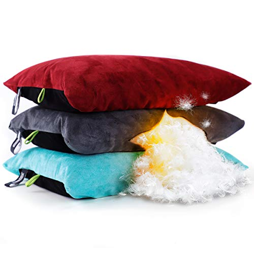 ZOOOBELIVES Down Filled Pillows for Camping/Travel, Washable Soft Cover, Camp Pillow for Neck & Lumbar Support On-The-Go, Ultralight & Compressible...