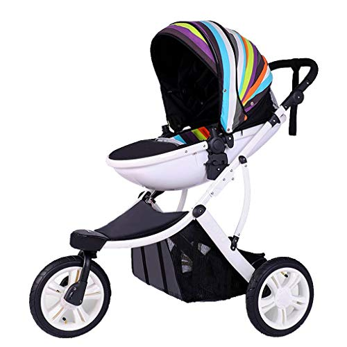 Carritos deportivos,Jogging Cochecito Sistemas de viaje, Quick Fold cochecitos, ligero cochecito del niño con asa regulable Bar, ruedas de caucho,choque de la rueda Suspensión ( Color : Rainbow 1 )