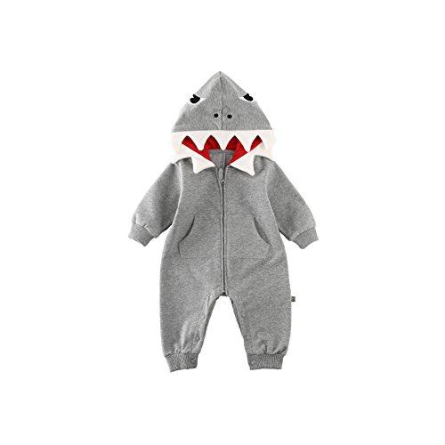 Fairy Baby Baby Jungs Mädchen 3D Cartoon Hai Kostüm Spielanzug mit Kapuze Overall Kleider Size 80(12-18 Months) (Grey)