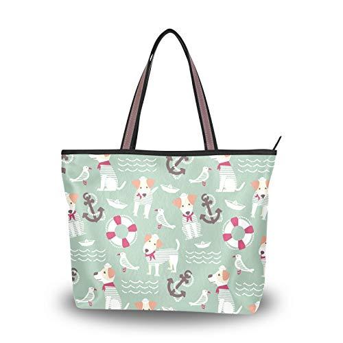 NaiiaN Geldbörse Einkaufen für Frauen Mädchen Damen Student Seemann Hund Rettungsring Tier Einkaufstasche Handtaschen Leichter Gurt Umhängetaschen