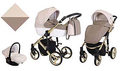 Kunert cochecito de bebé TIARO PREMIUM silla de paseo silla de coche asiento de bebé juego completo 3 en 1 (Marrón con crema, Color del marco: Oro, 3en1)