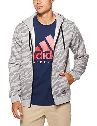 adidas Herren Essentials AOP Full Zip Kapuzen-Jacke, Medium Grey Heather, L