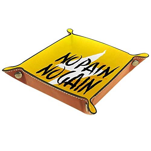 No Pain No Gain - Organizador de mesita de noche amarillo para cambio de joyas, relojes de teléfono y dados