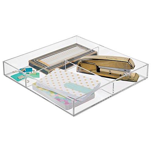 mDesign Organizador de escritorio – Moderno separador de cajones – Práctica bandeja apilable para material de oficina como bolígrafos, lápices o blocs de notas – transparente