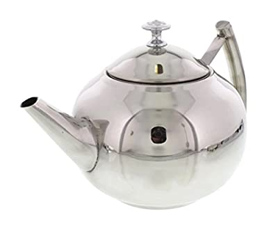 Cheftor Polished Stainless Steel Teapot Kettle pot with Tea Infuser Filter for Home Kitchen, Restaurant or Office, Round shape