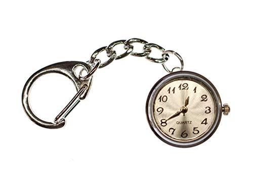 Miniblings El reloj funciona con llavero Snap Button Time Reloj de pulsera, color blanco, hecho a mano, bisutería I colgante llavero banda llavero llavero