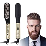 CHARMINER Beard Straightener for Men, Electric Hot Beard Straightening Comb with Dual Voltage 110-240V, 360 Rotation Cord Multifunctional Hair Styler for travel & Men's Short, Long Beard or Hair gold s