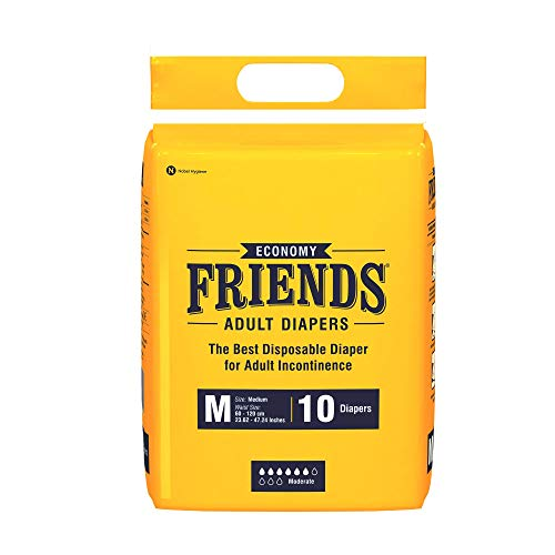 Friends Adult Diapers (Medium ) White Anti-Bacterial Absorbent Core, 10s PACK