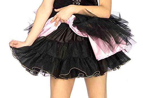 Forum Novelties Women's Accessory Short Crinoline 16-Inches Long, Black/Silver, One Size