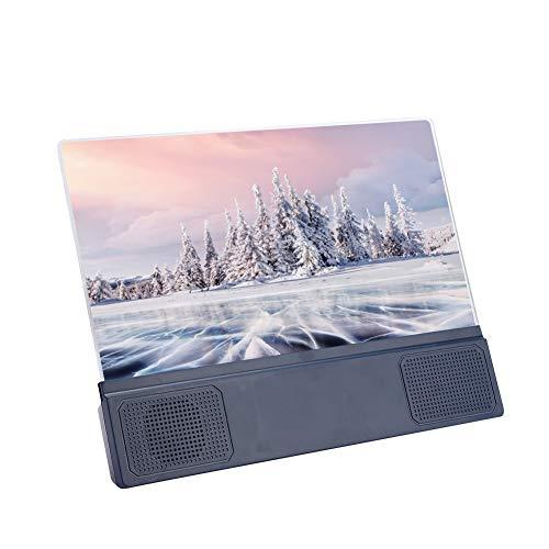 Supporto per amplificatore dello schermo dello smartphone, lente d ingrandimento del proiettore del riproduttore di film video del cellulare da tavolo da 12 pollici, ingranditore dello schermo di visu
