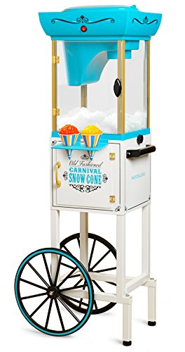 Nostalgia Inch Tall Snow Cone Cart, Metal Scoop Makes 48 Icy Treats, Includes Storage Compartment, Wheels For Easy Mobility – White/Blue