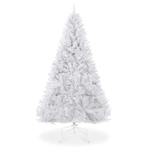 Best Choice Products 6ft Hinged Artificial Christmas Pine Tree Holiday Decoration w/Metal Stand, 1,000 Tips, Easy Assembly, White