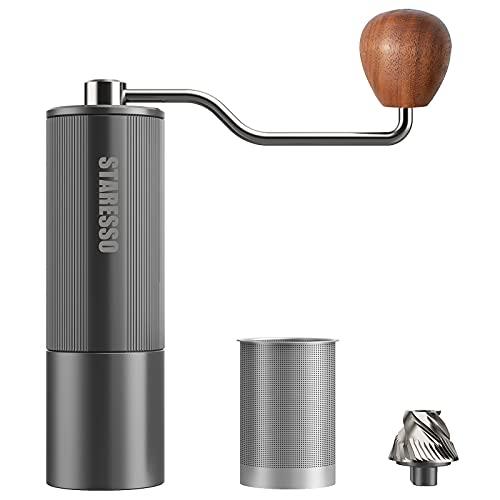 STARESSO Macinacaffè manuale in acciaio inox e lega di alluminio di alta qualità, regolabile, con filtro per caffè, manico in noce, macinino per espresso, manuale