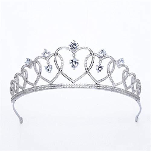 SUIWO Princess Crown Gems Rhinestone Tiara Kid Girl Prom Birthday Prinecess Party Heart-shaped Bride Wedding Headdress Concentric Knot Zircon Crown Wedding Birthday Party Accessories