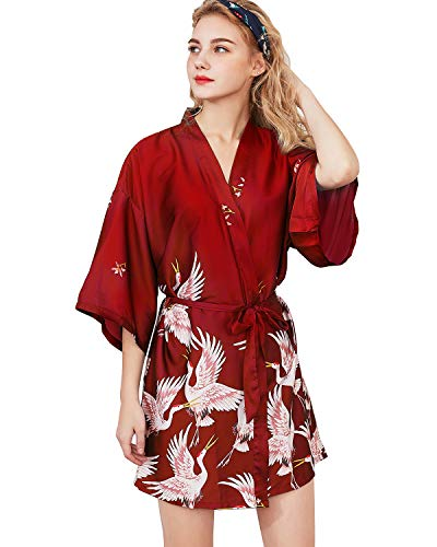 Shymay Women's Kimono Robe Satin Short Sleeve Silk Bridesmaid Wedding Party Nightgown Sleepwear,WineRed,2XL=US L
