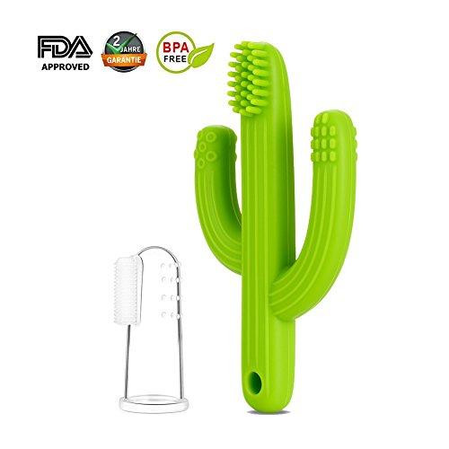 Mr.Van Bambino Massaggiagengive,Dentizione Giocattolo,Spazzolino da Denti Bambino,100% Silicone per Bambini Senza BPA (Verde)