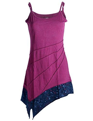 Vishes - Alternative Bekleidung – Asymmetrische Baumwolltunika – Minikleid mit Spagettiträgern dunkelrot 40