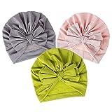 Lnrueg Baby Turban Hats Bowknot 3Pcs Moda De Algodón Adorable Soft Linda Linda Cabeza Acogida Lindas para Recién Nacido Cozy Soft Soft Pequeño