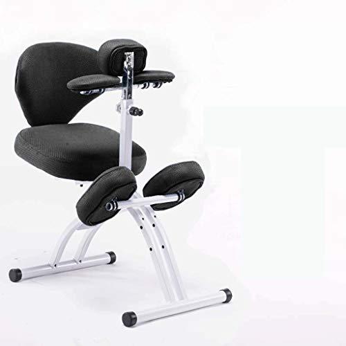 LIUBINGER Drehbarer Bürostuhl Kinder Study Stuhl, Anti-bucklige Korrektur Sitzhaltung Stuhl kniend, Abhebbarer Student schriftlich Stuhl mit Rückenlehne (Color : Black)
