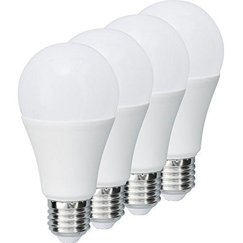 MÜLLER-LICHT 400004 A+, 4er-SET LED Lampe Birnenform ersetzt 75 W, Plastik, E27, weiß, 6 x 6 x 12 cm dimmbar [Energieklasse A+]