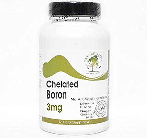 Chelated Boron 3mg ~ 200 Capsules - No Additives ~ Naturetition Supplements