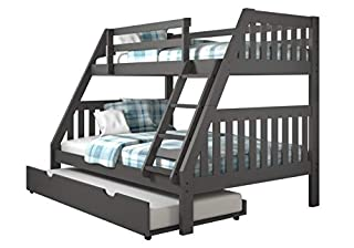 Donco Kids Mission Bunk Dual Under Bed Drawers, Twin/Full/Twin, Dark Grey (B079K7SYJG) | Amazon price tracker / tracking, Amazon price history charts, Amazon price watches, Amazon price drop alerts