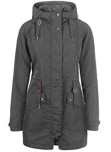 DESIRES Sakura Damen Übergangsmantel Parka Lange Jacke Mit Kapuze, Größe:L, Farbe:Dark Grey (2890)