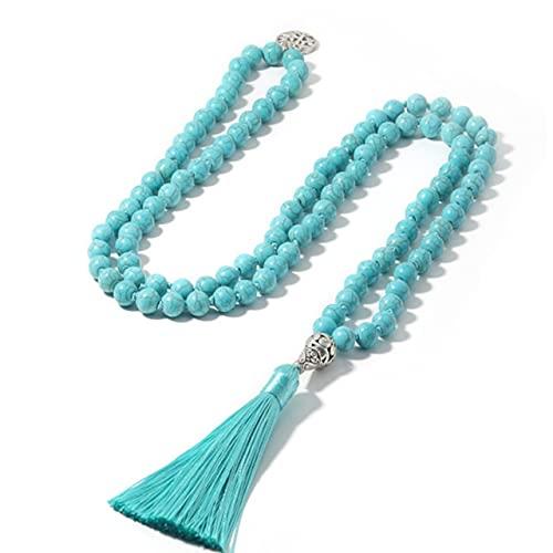 PPuujia Collar con cuentas de rodocrosita natural, collar anudado, meditación, yoga, espíritu 108 Mara, con colgante de árbol de la vida (color metal: azul turquesa)