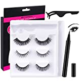 Magnetic Eyeliner Lashes Magnetic Eyelashes Kit,3 Different Style Reusable 3D Magnetic Eyelashes False Natural Eye Look Lashes with Liner and Tweezers for Eyelash Extensions