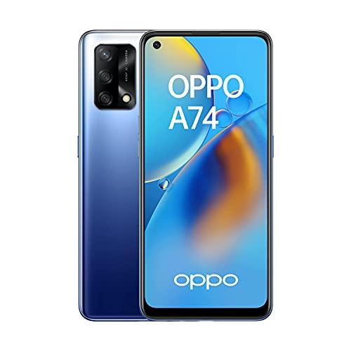 """OPPO A74 4G - Smartphone 4G Débloqué, 6 Go RAM + 128 Go Extensible, Écran AMOLED FHD+ 6,43"""", Snapdragon 662, Caméra Triple Capteur Photo 48 MP, Charge Rapide 33W, Batterie 5000 mAh, Bleu"""