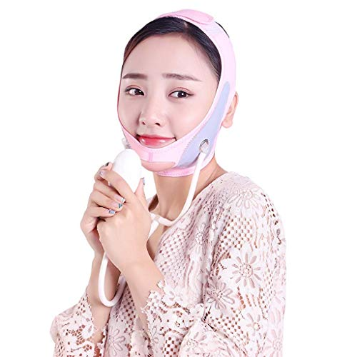 Ceinture de Lifting, Masque Facial de Lifting Gonflable V Face Artifact Thin Double Menton Respirant Sleep Lifting Raffermissant Bandage Double Menton réducteur (Couleur: Rose)