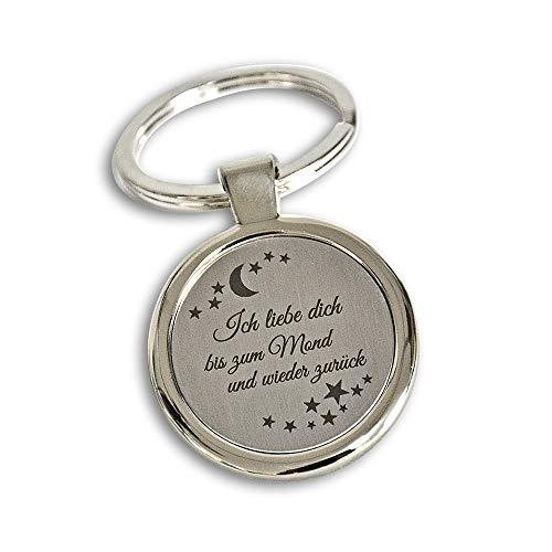 Schlüsselanhänger rund mit Gravur - Ich liebe dich bis zum Mond und wieder zurück