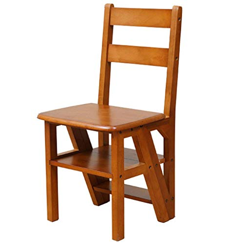 N/Z Daily Equipment Folding Wooden Step Stool 4 Tiers Portable Ladder Chair Seat Versatile Multifunctional Solid Pine Wood Construction Space Home Kitchen Bathroom Office Furniture