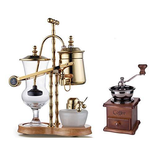 Kaffeekannen Siphon Gold Edelstahl Design Kaffeekanne mit Filter Glas Thermoskanne,Kaffeebereiter Kaffee und Teekanne Zwei in eins Anzug 4-5 Tassen Thermo, Mit Massivholz-Hand schütteln Kaffeemaschine