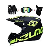 LEENY Adulti Motocross Uomo Casco da Moto con Occhiali Maschera Guanti, Caschi da Cross Motocicletta DH off-Road Enduro Quad Motociclo ATV MTB BMX Motorbike Cross Country per Uomini Donne,XL