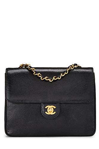 CHANEL Black Embossed Lizard Shoulder Bag (Renewed)