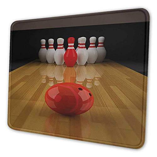 Bowling Party bedruckte Mauspad-Gasse mit rotem Kegel in der Mitte Zielpunktzahl Gewinner Wettbewerb Mauspad mit rutschfester Basis hellbraun rot weiß, Es