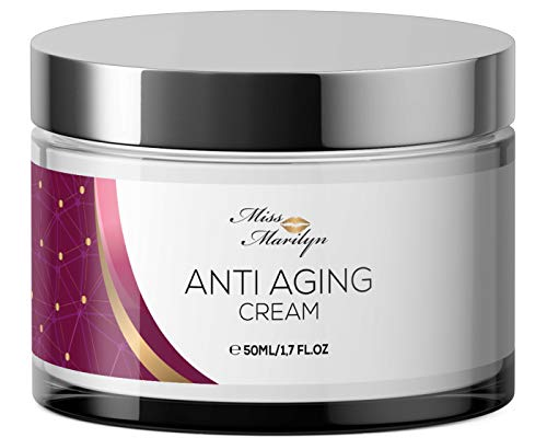 Anti-Aging Creme & Anti Falten Creme hochdosiert - Feuchtigkeitscreme von Miss Marilyn für Gesicht und Augen + Hyaluronsäure + Retinol + Coenzym Q10