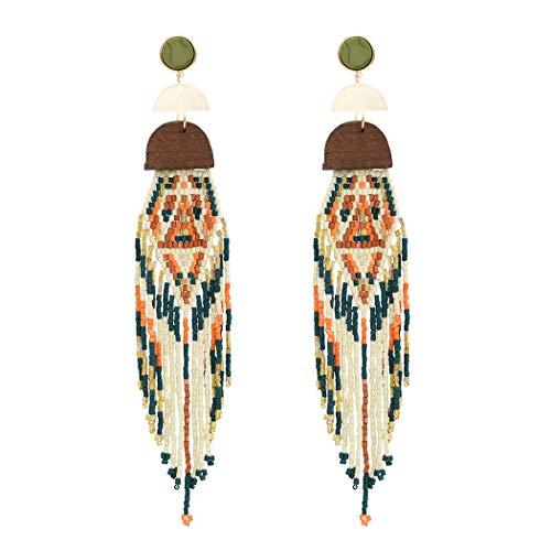 Bohemian Statement Beaded Long Tassel Earrings Women Wood Multi Ear Jewelry (Red)