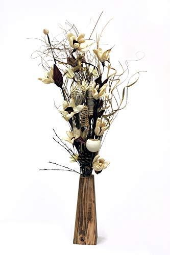 Einzigartiger Blumenstrauß aus getrockneten und Kunstblumen, cremefarben, handgefertigt, 85 cm hoch, inkl. 26 cm Holzvase, hergestellt in Großbritannien