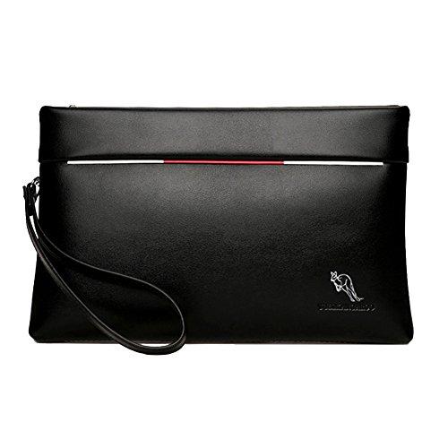 Aideal Pochette in Pelle PU Uomo Nera Borsello a Mano Borsa da Polso con Zip Handbag Portatile Ideal per ufficio/business/casual/appuntamenti