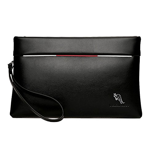 Aideal Pochette in Pelle PU Uomo Nera Borsello a Mano Borsa da Polso con Zip Handbag Portatile Ideal per ufficio/business/casual/appuntamenti